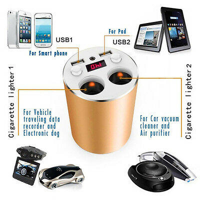 Universal Aluminium Alloy Car Chargers With 2 USB Ports and 2 Sockets Cigarette