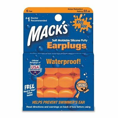 Macks Swimming Earplugs KIDS size learn to swim putty ear plug silicon #10 size