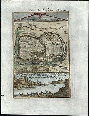 Jerusalem 1719 antique engraved city view plan detailed hand color lovely scarce