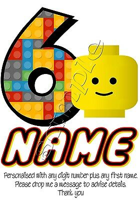 Iron on Transfer PERSONALISED BIRTHDAY ANY NAME & NUMBER LEGO DUPLO 13x15cm