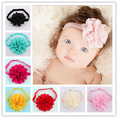 Cute Baby Infant Girl Toddler 12pcs Flower Headband Hair Bow Band Accessories US