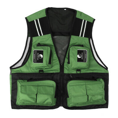 Mens Fishing Mesh Vest Travel Waistcoat Jacket Hunter Costume +Reflective Stripe