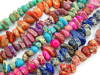 Natural Sea Sediment Jasper Gemstone Freeformed Nugget Spacer Loose Beads 15.5''