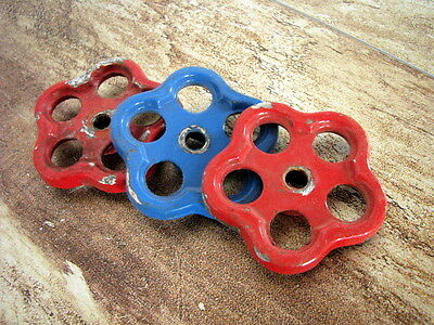 Vintage Red Blue Water Faucet Handles Knobs Valves Aluminium Steampunk USSR