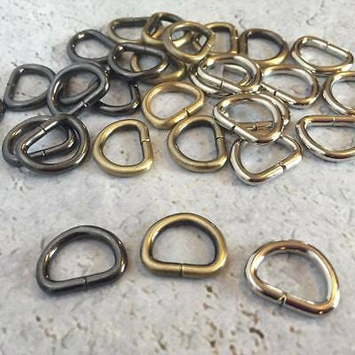 "D Rings 13mm (1/2"") internal width in Nickel, Brass or Gunmetal - 20 pces"