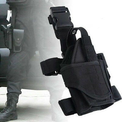 Adjustable Wrap-around Hunting Army Pistol Gun Drop Leg Thigh Holster Pouch Bag