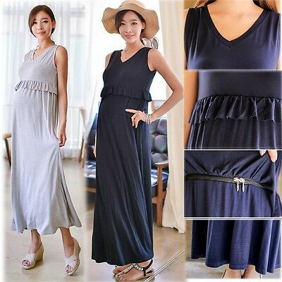 V-neck Dress Nursing Breastfeeding Full Sleevelss Modal Cotton Top Comfy  M/L/XL