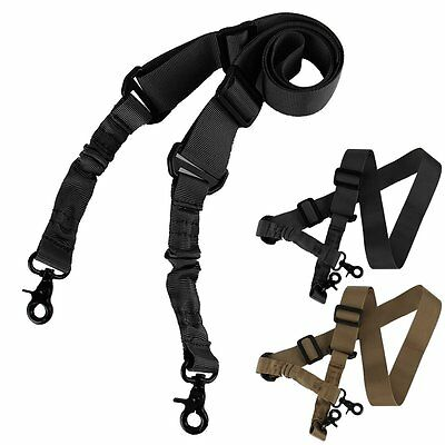 New Adjustable Tactical 2 Two Point Rifle Gun Sling Dual Bungee Strap Snap Hook