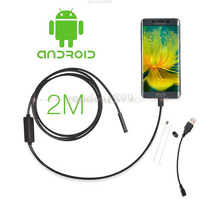 2M 7mm Android Phone Endoscope IP67 Inspection Borescope HD 6 LED Video Camera