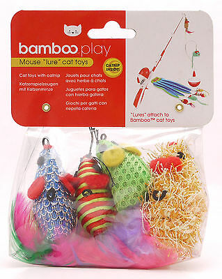 Bamboo Catnip Scented Mouse Lures Cat Kitten Toy 4pk