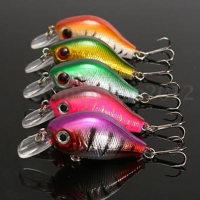 Kit 5Pcs Pesca Pesce Plastica Colorato 6 Ganci Minnow Fishing Lures CrankBaits