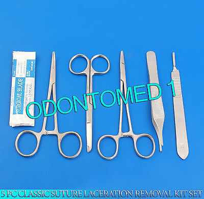 5 Pc Classic Suture Laceration Removal Kit Set (Scalpel Handle #3+ 5 Blades #15)