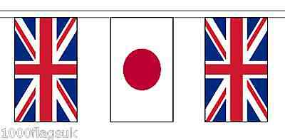 Japan & United Kingdom UK Polyester Bunting - 10m with 28 Flags