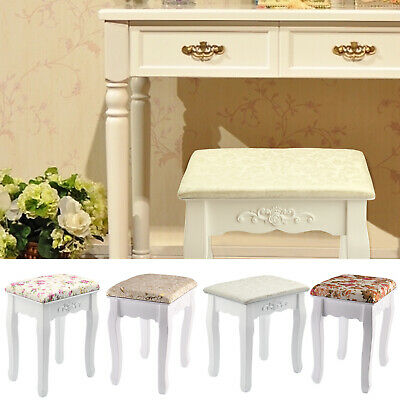 White & Rose Vintage Dressing Table Stool Padded Piano Chair Makeup Seat Baroque