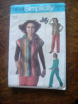 Vintage Simplicity Pattern~7614~Misses Unlined Jacket and Pants~1976
