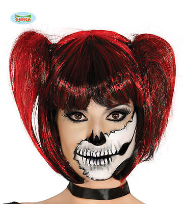 Red & Black Pigtails Wig with Fringe Gothic Halloween Cosplay Fancy Dress