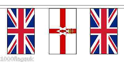 Northern Ireland & United Kingdom Polyester Flag Bunting - 10m with 28 Flags