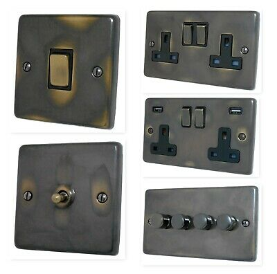 Aged Antique Brass CAN3 Light Switches, Plug Sockets, Dimmers, Cooker, TV, Fu...
