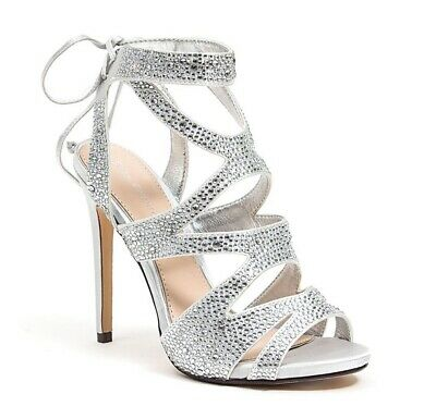 6cce4807083 LADY COUTURE WOMEN S Babe Embellished Fabric Strappy Heels Pewter ...