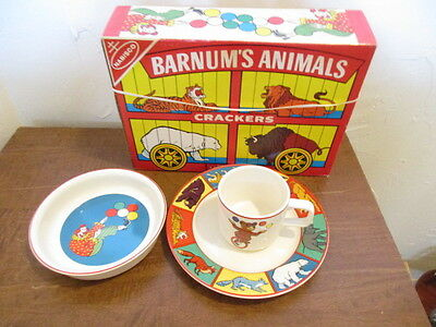 Vintage Children's Porcelain Plate, Cup & Bowl - Circus Barnum's Animal Crackers
