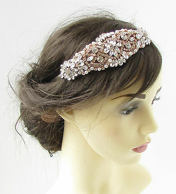 Silver & Rose Gold Headband Diamante Headpiece Flapper Bridal Vintage 1920s 301