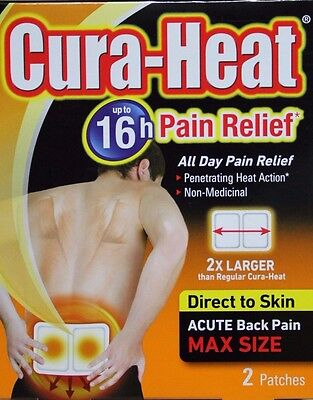 Cura-Heat Max Size Direct To Skin, Back Pain MAX size Two Patches