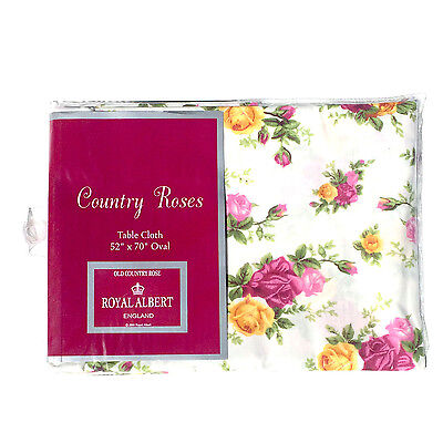 """Royal Albert Old Country Roses Tablecloth 52"""" X 70"""" Oval"""