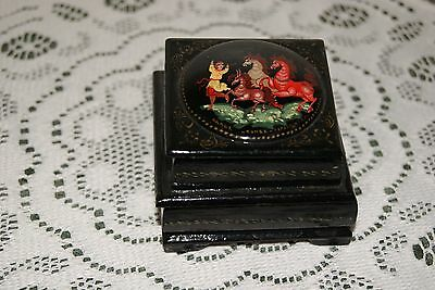 Vintage...wooden.....oriental....black Lacquer....jewelry Box