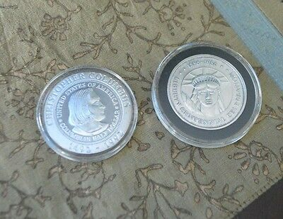 Lot of 2 Silver 1 Troy Ounce Commemorative Rounds Columbus & Centennial TC