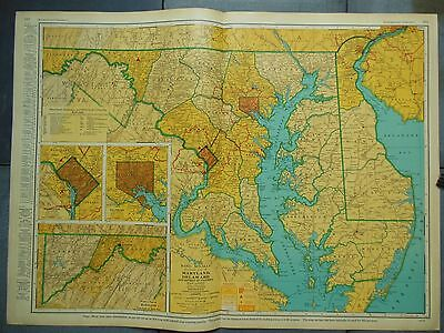 """Large Beautiful 1942 Vintage Full Color Map Maryland Delaware  27 5/8"""" x 20 1/2"""""""