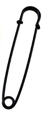 "10 LARGE 3"" SAFETY PINS,SKIRT PINS  all steel nickle BLACK COLOR sharp tips USA"