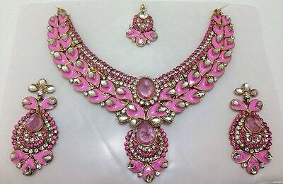 New Necklace Earrings Set Indian Costume Jewellery Wear Evening Wedding Design