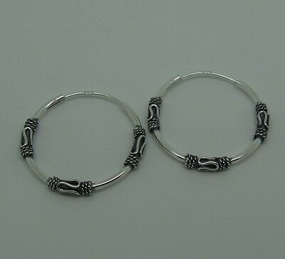 Women's 925 Sterling Silver 22 Mm Bali Hoop Earrings-New In Boxed
