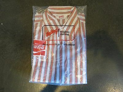 NEW Vintage Unitog COCA-COLA Long Sleeve Stripe Employee Shirt Med Union USA