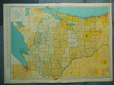 """Large Beautiful 1942 Vintage Full Color Map of Wisconsin    20 1/2"""" x 7 5/8"""""""