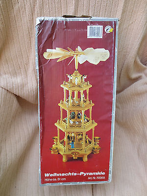 Weihnachts-Pyramide 3 Tier Vintage German Christmas Pyramid Nativity Carousel .