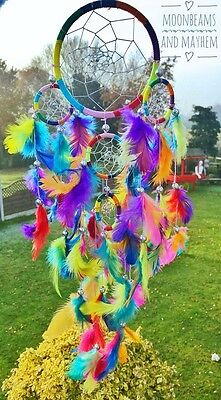 Fab New Fair Trade Rainbow Dream Catcher Chimes Garden Hippie Boho Gypsy Mobile