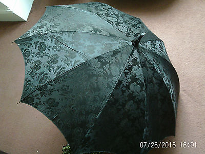 Antique Black Silk Carved Handle Bamboo Cane Victorian Parasol