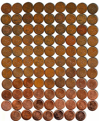 1920~2012 - CANADA - 97 x 1¢ Pennies - No Duplicates Many Varieties
