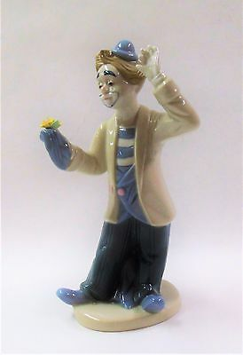 "Porcelain 8"" Clown with Flowers 1983 Figurine"