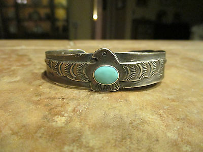 Very OLD Navajo Silver Turquoise Whirling Log Thunderbird Cuff Bracelet   1920's