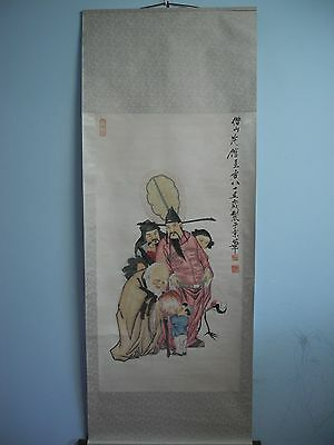 Excellent old Chinese Scroll Painting By Qi BaiShi :three gods J14