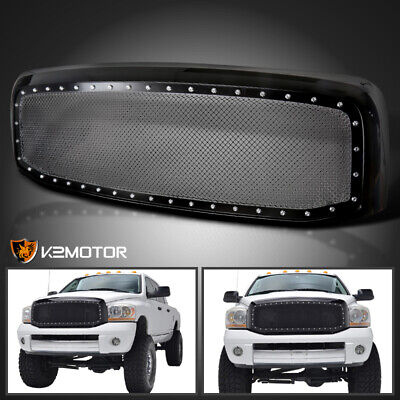 2006-2008 Dodge Ram 1500 2500 3500 Black Rivet Style SS Wire Mesh Grille+Shell