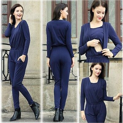 New Jumpsuits Playsuits Nursing Breasfeeding V-neck Slim Elegant 6 8 10 12 14 16