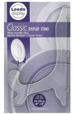 "Clear Classic Plate Display Stand Plastic Holds 10"" - 18"""