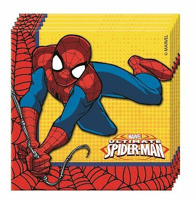 Marvel Ultimate Spiderman Party Napkins Birthday Boys Superhero Pack of 20
