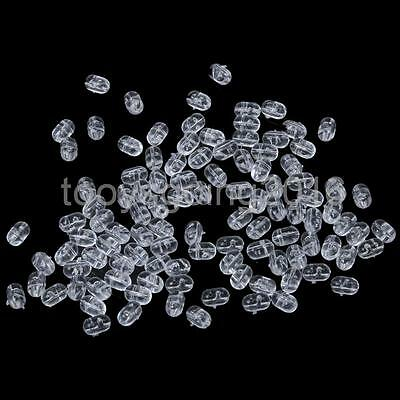 100pcs 0.8mm Fishing Clear Oval Beads Double Pearl Drill Cross Beads 5x8mm