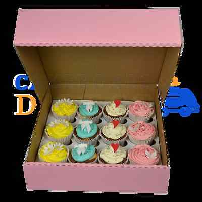 12 Pink Corrugated Cupcake Box + Divider Cheapest On Ebay Choose Your Quantity