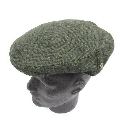 85ba731e20d Irish Green Aran Herringbone Wool Tweed Flat Cap Hat-Shamrock Pin- Man of  Aran