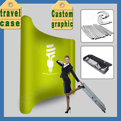 10ft tension fabric curved trade show display pop up booth with custom graphic